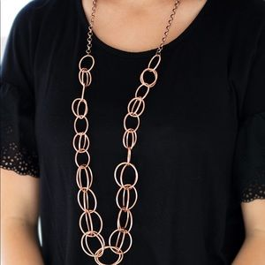 Copper hoop necklace and earrings